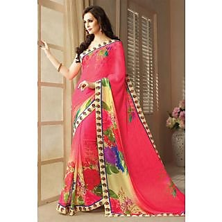 Astonishing Pink,Cream Lace Border Georgette Saree With Blouse
