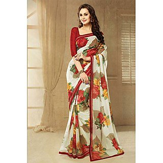 Striking Off White Lace Border Georgette Saree With Blouse