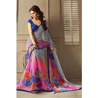 Enchanting Grey,Pink Lace Border Georgette Saree With Blouse