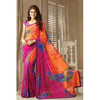 Pretty Pink,Orange  Lace Border Georgette Saree With Blouse