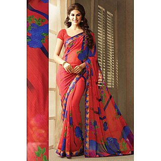 Statuesque Pink Lace Border Georgette Saree With Blouse