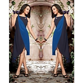 Magnum Opus Store Blue & Black Color Poly Georgette Kurti.