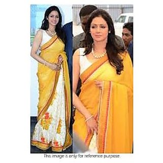 Richlady Fashion Sridevi Georgette Thread Work Yellow And White Saree