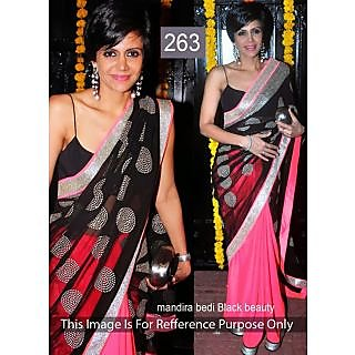 Black With Pink Net Designer Bollywood Saree