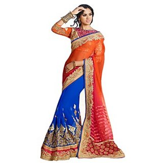 Colors Fashion Orange And Blue Faux Georgette Latest Designer Party Wear Heavy Work Saree