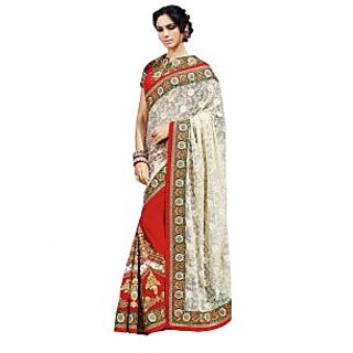Colors Fashion White And Maroon Faux Georgette Latest Designer Party Wear Heavy Work Saree