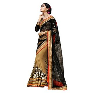 Colors Fashion Black And Beige Faux Georgette Latest Designer Party Wear Heavy Work Saree
