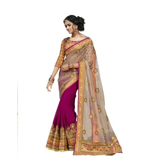 Colors Fashion Beige And Pink Faux Georgette Latest Designer Party Wear Heavy Work Saree