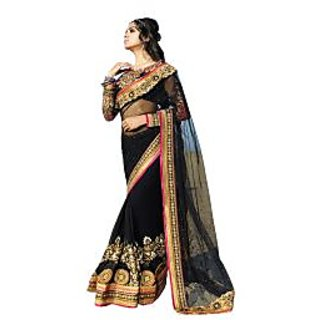Colors Fashion Black Net Latest Designer Party Wear Heavy Work Saree