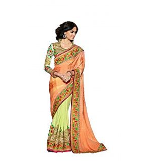 Colors Fashion Orange And Green Faux Georgette Latest Designer Party Wear Heavy Work Saree