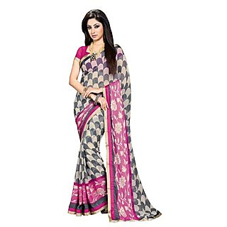 Colors Fashion Pink And Cream And Grey Chiffon Latest Designer Fancy Printed Saree