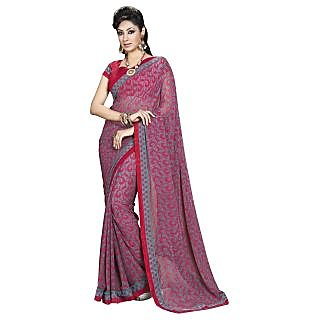 Colors Fashion Red And Grey Chiffon Latest Designer Fancy Printed Saree