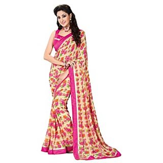 Colors Fashion Pink And Cream Faux Georgette Latest Designer Fancy Printed Saree