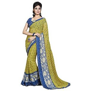 Colors Fashion Green And Blue Faux Georgette Latest Designer Fancy Printed Saree