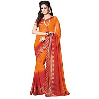 Colors Fashion Red And Orange Faux Georgette Latest Designer Fancy Printed Saree