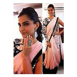 Richlady Fashion Sonam Kapoor Chiffon Plain Plain Pink Saree