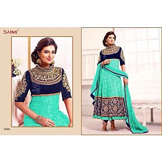 Green And Blue Un-stitched Anarkali Suit With Fancy Embroidery Work-1602