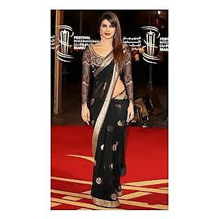Richlady Fashion Priyanka Chopra Net Border Work Black Saree