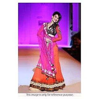 Richlady Fashion Gauhar Khan Georgette Orange And Pink Lehnga Choli