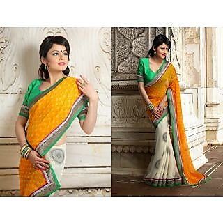 Rn673:12738 Georgette Embroidery Saree With Fancy Party Wear Matching  Blouse.