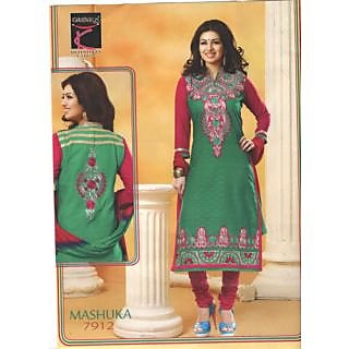 Desingar Cotton Embroidery Top With Cotton Bottom And Chiffon Dupatta-7912