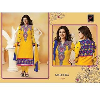 Desingar Cotton Embroidery Top With Cotton Bottom And Chiffon Dupatta-7903