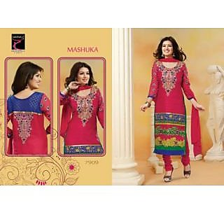 Desingar Cotton Embroidery Top With Cotton Bottom And Chiffon Dupatta-7909