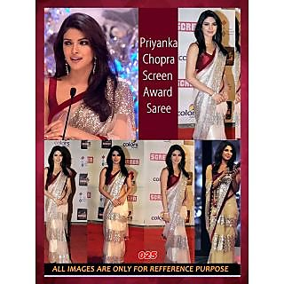 Priyanka Chopra Bollywood Cream Bridal Sequins Work Pure Net Sarees