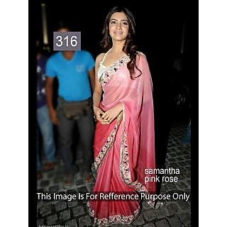 Bollywood Samantha Pink Rose Color Inspired Party Wear Saree