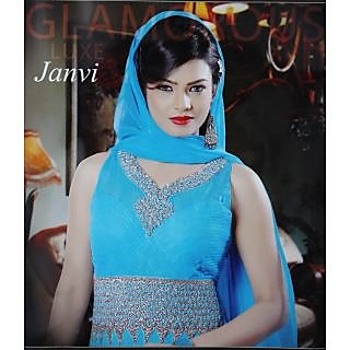 Anarkali Free Size Net Fabrice Embrodered Light Blue Long Dress+ Trandy Watch