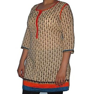 Best Quality Cotton Kurti With Rajasthani Print And Attractive Border - 74937170