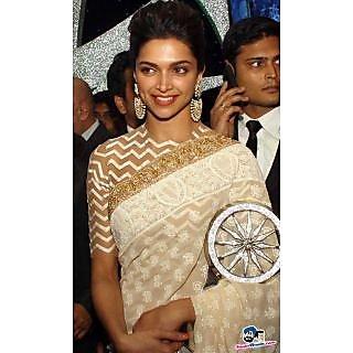 RangRasiya Gorgeous Deepika Padukon Bollywood Replica Cream Georgette Saree