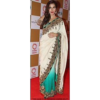 Sophie With Bhagyash Multi Seuins Work Bridal Wear Turquoise Blue Saree