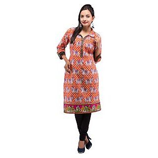 Rash Collection Orange Printed Collar Neck 3/4 Sleeves Long Kurti