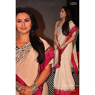 Bollywood Replica - Rani-Mukherjee- White & Red Lace Saree