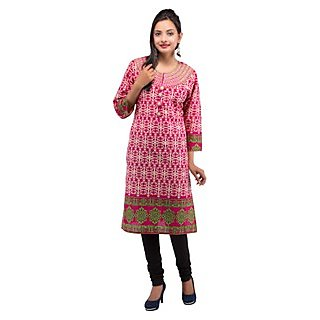 Rash Collection Pink Embroidered Round Neck 3/4 Sleeves Long Kurti