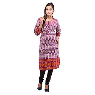 Rash Collection Preple Embroidered Round Neck 3/4 Sleeves Long Kurti