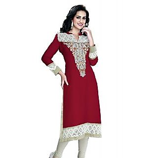 Simar !!! Party Wear Handwork Dark Red Designer Georgette Long Kurti / Kurtis