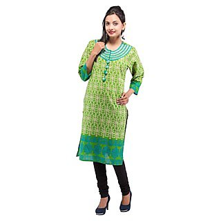 Rash Collection Green Embroidered Round Neck 3/4 Sleeves Long Kurti