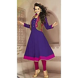 Simar!!! Party Wear Purple Designer Anarkali Kurti With Shiny Embroidered Shrug