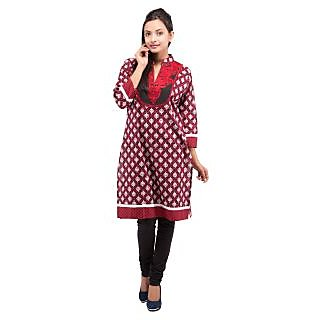 Rash Collection Red And Black Embroidered  Collar Neck 3/4 Sleeves Cotton Kurti - 74943508