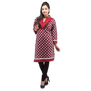 Rash Collection Red And Black Embroidered  Collar Neck 3/4 Sleeves Cotton Kurti - 74943628
