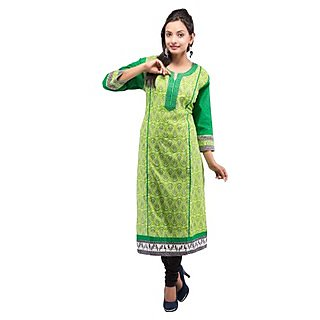 Rash Collection Green Cotton Printed Round Neck 3/4 Sleeves Long Kurti