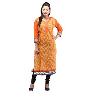 Rash Collection Orange Cotton Printed Round Neck 3/4 Sleeves Long Kurti