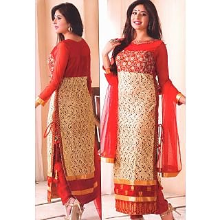 Designer Red And Golden Long Suit With Heavy Embroidery KF 5027
