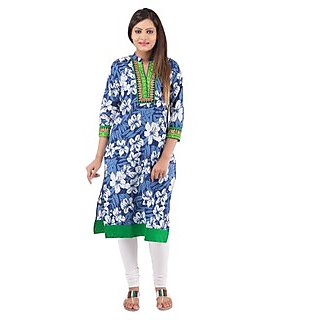 Rash Collection Blue And Green Embroidered  Collar Neck 3/4 Sleeves Long Kurti