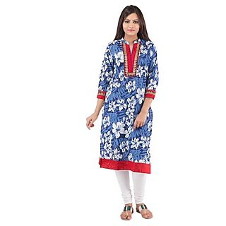 Rash Collection Blue And Red Embroidered  Collar Neck 3/4 Sleeves Long Kurti