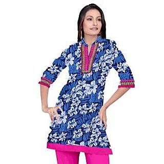 Rash Collection Blue And Rani Embroidered  Collar Neck 3/4 Sleeves Long Kurti