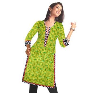 Rash Collection Yellow  Printed Cotton Round Neck 3/4 Sleeves Long Kurti