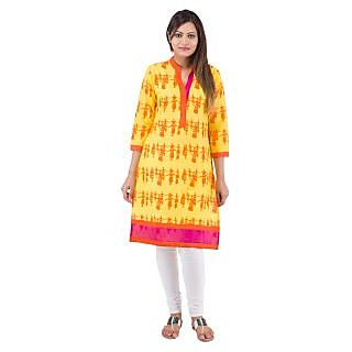 Rash Collection Yellow Plain Cotton Collar Neck 3/4 Sleeves Long Kurti